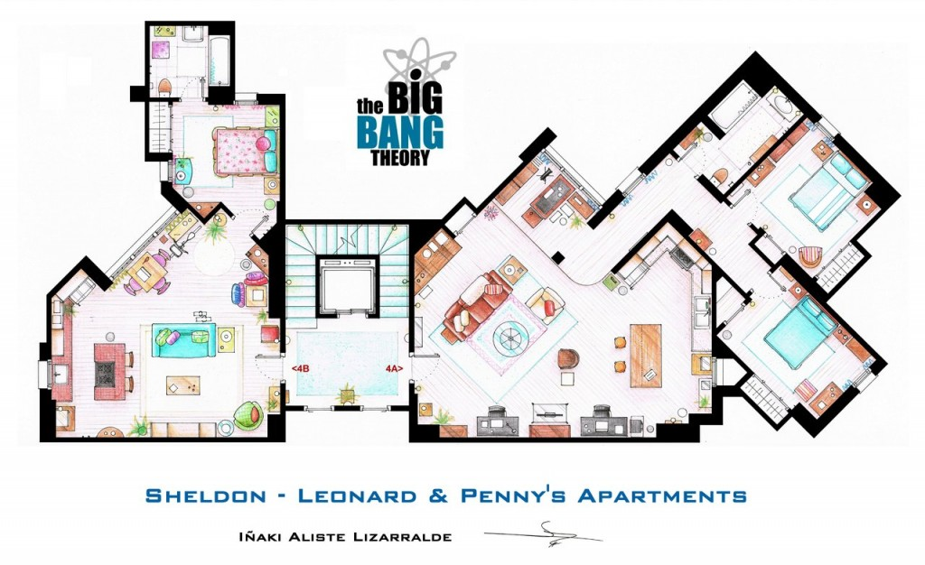 The Big Bang Theory Apartment Floor Map