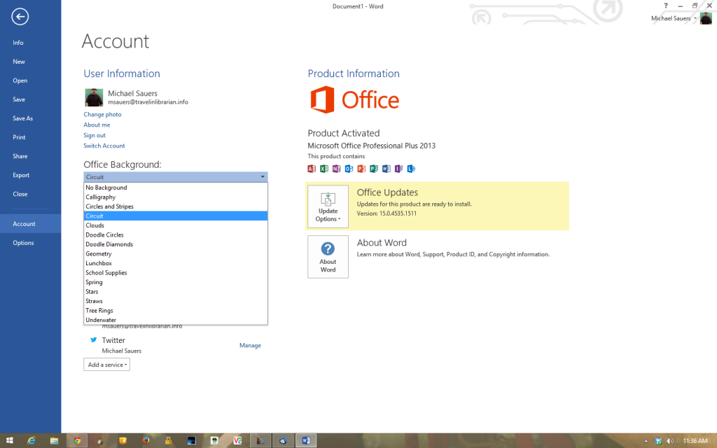 Office 2013 Background Settings
