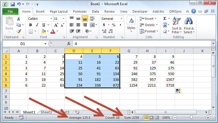 Excel Average Count Sum