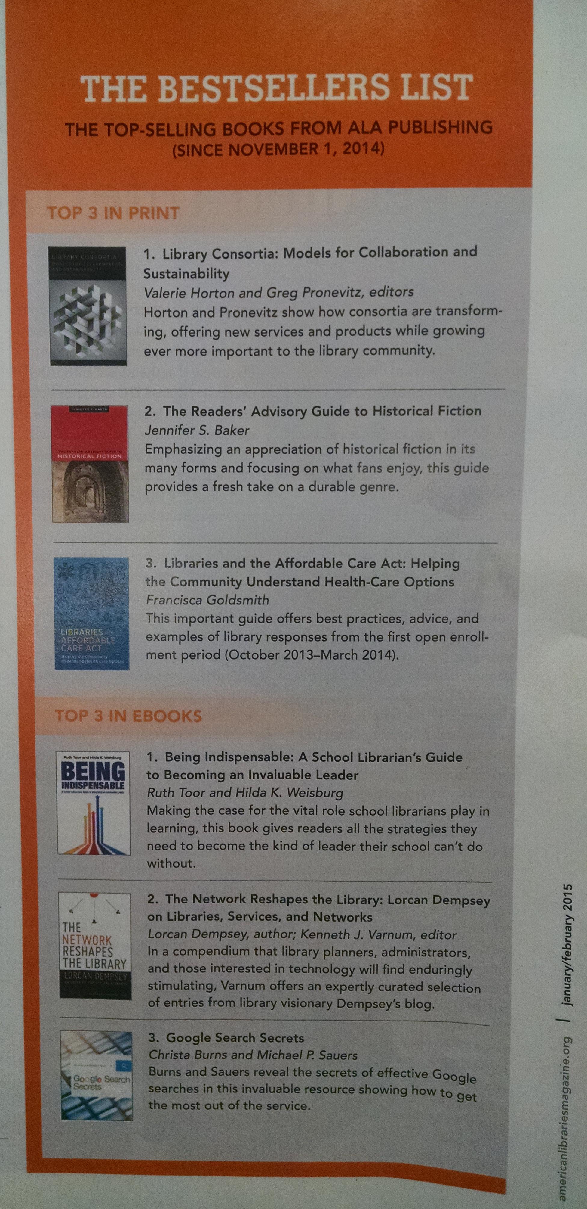 #3 ALA eBook bestseller Jan-Feb 2015