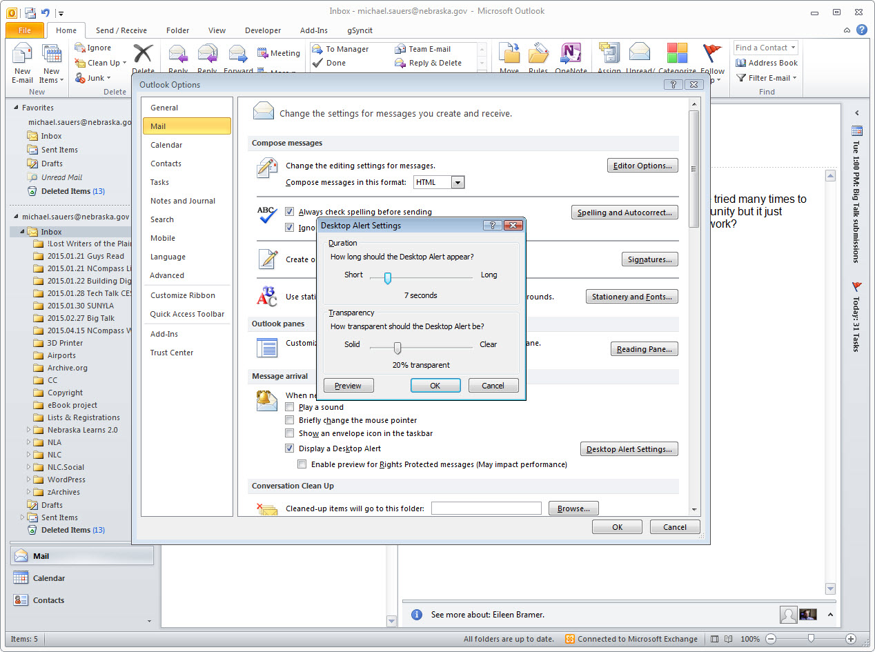 Outlook 2010: Change the Screen Location that the Desktop Alert Appears