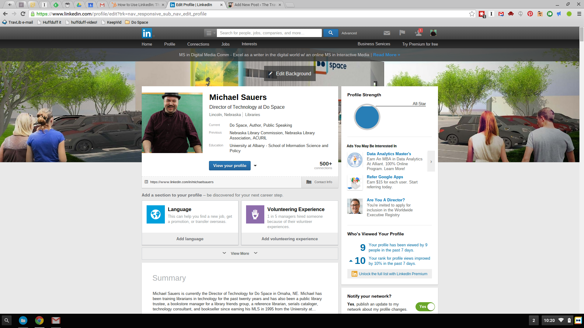 Tuesday Tech Tip: Add a background photo to your personal LinkedIn profile - The Travelin' Librarian