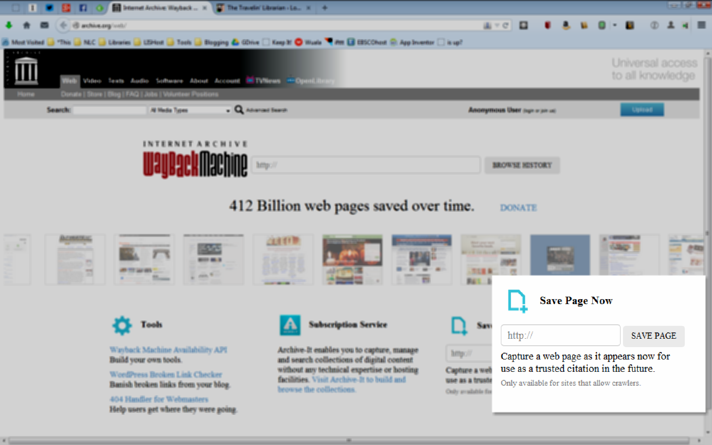 Tuesday Tech Tip: Submit your site to the Wayback Machine