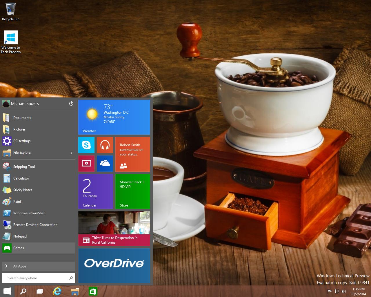Windows 10 Technical Previewscreenshots