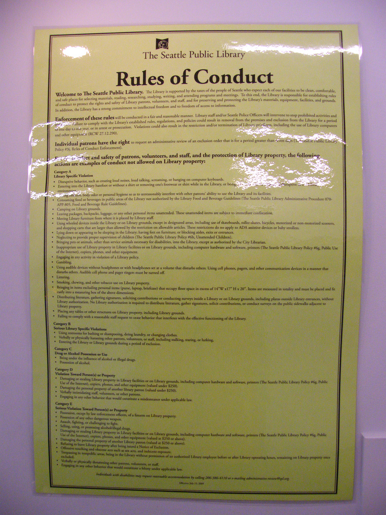 Throwback Thursday: Seattle Public Library Rules of Conduct (2010)